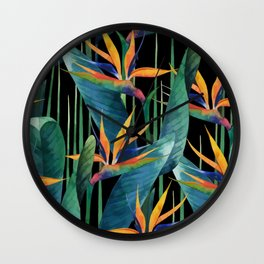 Watercolor Painting Tropical Bird of Paradise Plants large Wall Clock