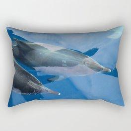 Dolphins and human shadows Rectangular Pillow