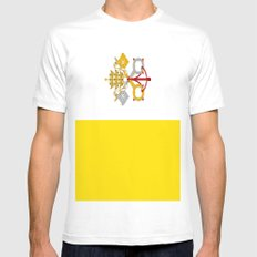 Flag Of Vatican City White Mens Fitted Tee MEDIUM