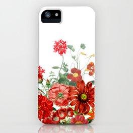 Vintage & Shabby Chic - Red Summer Flower Garden iPhone Case