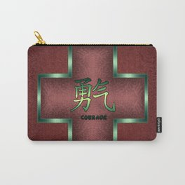 """""""Courage"""" Chinese Calligraphy on Celtic Cross Carry-All Pouch"""