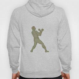 Vintage Boxer Fighting Stance Mono Line Hoody