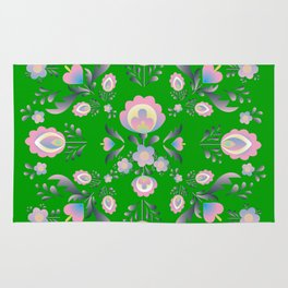 Folk Flowers in Green and Pink Rug