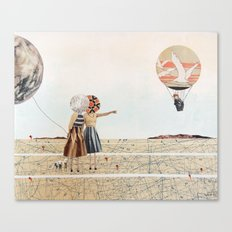 trip to the moon, collage Canvas Print