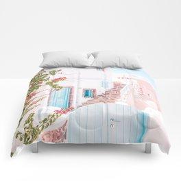 Santorini Greece Mamma Mia Pink House Travel Photography in hd. Comforters