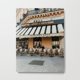 Cafe terrace in Paris during the spring, France   Street view   Pastel colored buildings   Travel photography fine art Metal Print