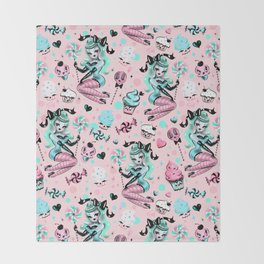 MInt Sugar Pinup Doll Pattern Throw Blanket