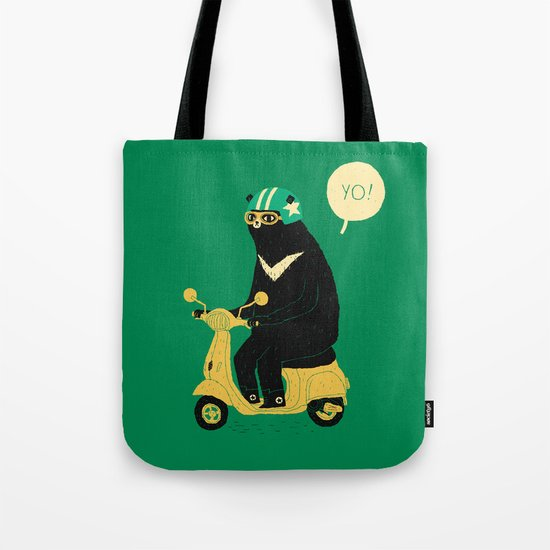 scooter bear green Tote Bag