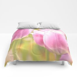 Spring is here with wonderful  colors - close-up of tulips flowers Comforters