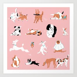 Dogs, Dogs, Dogs Pink Art Print