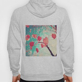 Our hearts are autumn leaves waiting to fall (Pink - Red fall leafs and brilliant retro blue sky) Hoody
