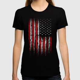 Red & white American flag on Navy ink T-shirt
