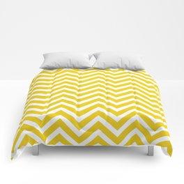 Chevron Pattern - Yellow and White Comforters