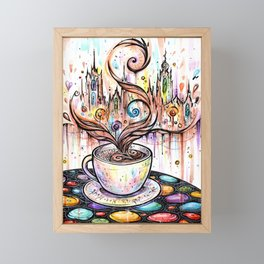 Magic cup of coffee ~ watercolor Framed Mini Art Print