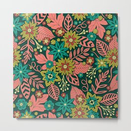 Modern Floral In Green, Teal, Pink & Red Metal Print