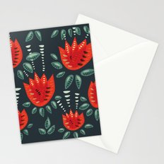 Abstract Red Tulip Floral Pattern Stationery Cards