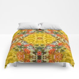 Marigold Kaleidoscope Photographic Pattern #1 Comforters