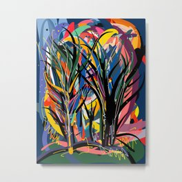 Trees in the Night Landscape Abstract Art Expressionism Metal Print