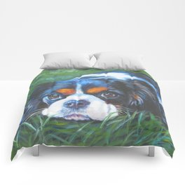 Beautiful Tricolour Cavalier King Charles Spaniel Dog Painting by L.A.Shepard Comforters