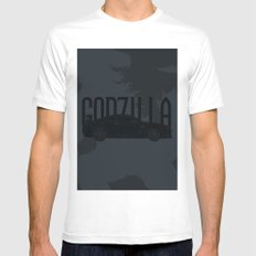 Godzilla White Mens Fitted Tee MEDIUM
