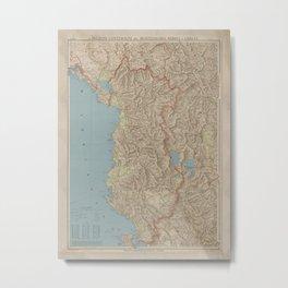Vintage Albania Map (1916) Metal Print