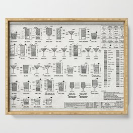 COCKTAIL poster, cocktail chart print Serving Tray