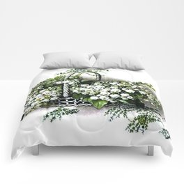 Vintage Lily of the Valley Flower Basket Comforters