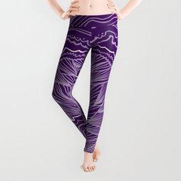 Plum Purple Geode Drawing Leggings