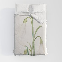 angelic snowdrop flowers watercolor Duvet Cover