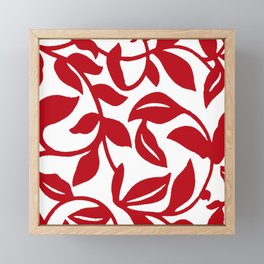 LEAF PALM VINE IN RED AND WHITE PATTERN Framed Mini Art Print