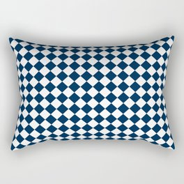 Small Diamonds - White and Oxford Blue Rectangular Pillow