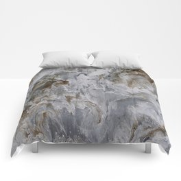 White, Grey, and Gold Marble Painting Comforters