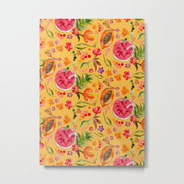 Tropical Fruit Festival in Yellow | Frutas Tropicales en Amarillo Metal Print