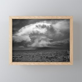 Take a Deep Breath - Storm Cloud Explodes on Horizon in Oklahoma Panhandle in Black and White Framed Mini Art Print