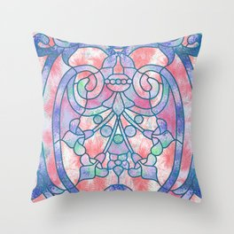 Art Nouveau Blue and Peach Batik Texture Throw Pillow
