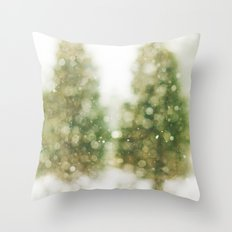 Snow Falling On Pines Throw Pillow