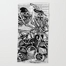 Calavera Cyclists   Black and White Beach Towel
