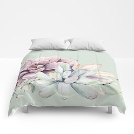 Beautiful Mint Succulents Comforters