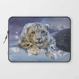 Snow Leopard and Moon Laptop Sleeve