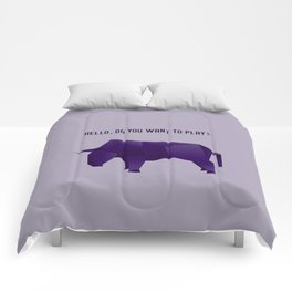 Do You Want to Play? - Origami Purple Bull Comforters