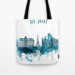Las Vegas Monochrome Blue Skyline Tote Bag
