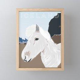 Icelandic Horse, Iceland Travel Poster Framed Mini Art Print