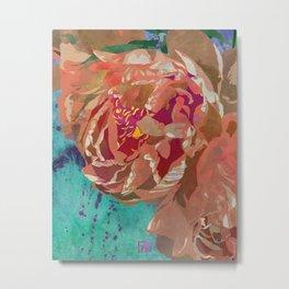 Peach Orange Peony Flower Art | Watercolor Floral Illustration Metal Print