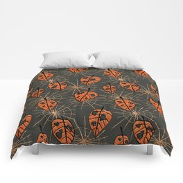 Orange Leaves With Holes And Spiderwebs Comforters