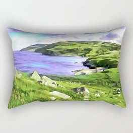 Torr Head View, Ireland. (Painting.) Rectangular Pillow