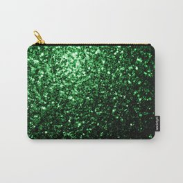 Glamour Dark Green glitter sparkles Carry-All Pouch