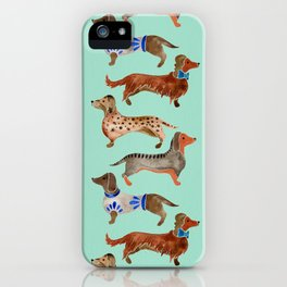 Dachshunds on Blue iPhone Case