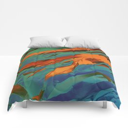 Green, Orange and Blue Abstract Comforters