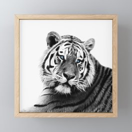 Black and white fractal tiger Framed Mini Art Print