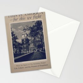 Vintage American World War 2 Poster: This is America: Life Liberty & the Pursuit of Happiness (1943) Stationery Cards